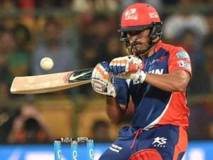 Karun Nair of Delhi Daredevils plays a shot against Royal Challengers Bangalore during Indian Premier League (IPL) 2016 T20 match in Bengaluru