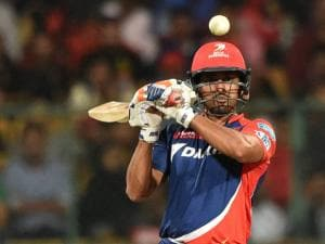 Karun Nair of Delhi Daredevils plays a shot against Royal Challengers Bangalore during Indian Premier League (IPL) 2016 T20_match in Bengaluru