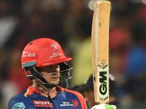 Quinton De Cock of Delhi Daredevils celebrates his fifty runs against Royal Challengers Bangalore during Indian Premier League (IPL) 2016 T20 match in Bengaluru.