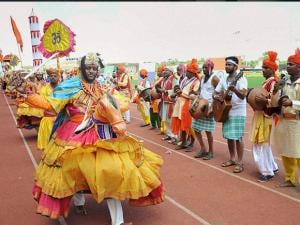Artists perform at the inauguration of the first edition of the BRICS U-17 football tournament in Panaji