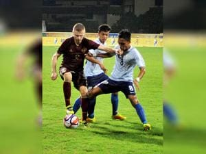 Footballer of Russian and Indian players in action during their match at the 1st BRICS U17 Football Tournament