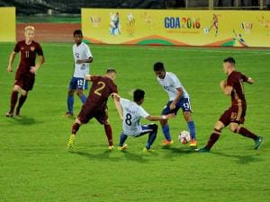 Russian and Indian players in action during their match at the 1st BRICS U17 Football Tournament
