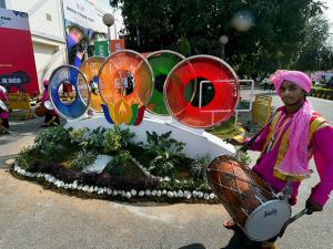 Folk artistes perform at the venue of the first ever BRICS Trade Fair at Pragati Maidan
