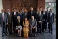 External Affairs Minister Sushma Swaraj poses with the delegates for group photographs