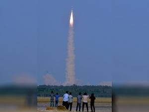 ISRO's  GSLV-F05 carrying INSAT-3DR leaves a trail of smoke as it takes off