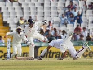 Wriddhiman Saha stumps out  South Africa's Hashim Amla
