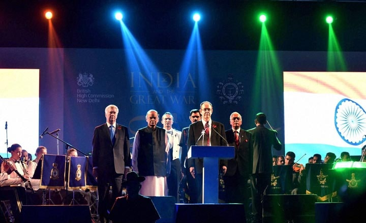 Union Defence Minister, Arun Jaitley, UK Secretary of State for Defence, Michael Fallon, Army Chief General, Dalbir Singh Suhag, National Anthem, 'First World War Centenary Commemoration'