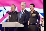 UK Secretary of State for Defence, Michael Fallon with Defence Minister Arun Jaitley