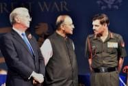 Union Defence Minister Arun Jaitley with UK Secretary of State for Defence, Michael Fallon and Army Chief General Dalbir Singh Suhag