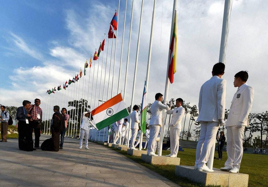 Flag hoisting, ceremony, 17th Asian Games, Incheon, South Korea