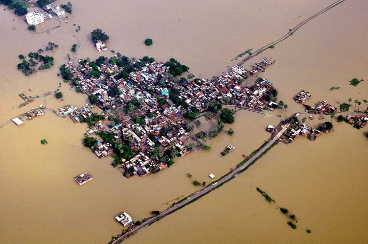 aerial, view, flood, affected, Nalanda, district, bihar