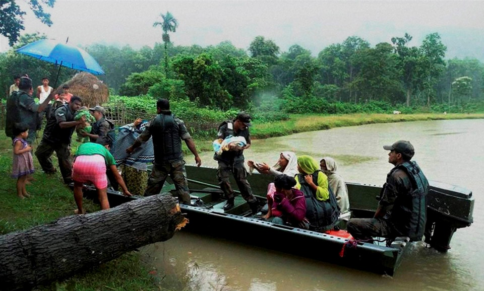 Army, troop, rescuing, people, flood, affected, Kalapani village, Nagaon, district, Assam