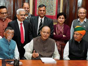 Union Minister for Finance Arun Jaitley, along with MoS Santosh Kumar Gangwar and Arjun Ram Meghwal giving final touches to the Union Budget 2017-18