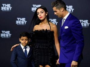 Cristiano Ronaldo  his girlfriend Georgina Rodriguez  and his son Ronaldo jr.