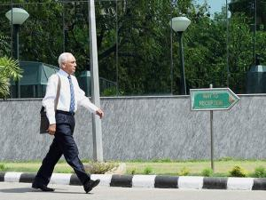 Former Air Chief Marshal S.P. Tyagi arriving at the CBI headquarters in New Delhi on Monday,in connection with alleged corruption in the 3,600 crore AgustaWestland choppers deal