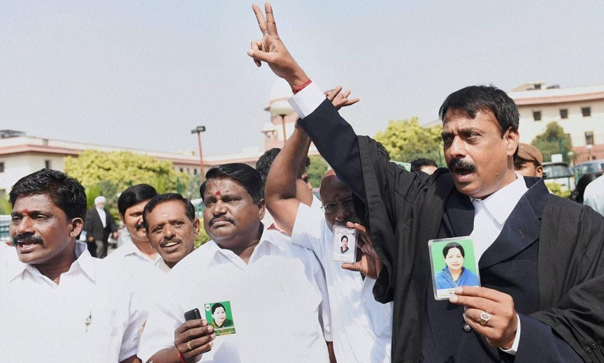 AIADMK, Jayalalitha's, supporters, celebrate, granted bail, Supreme Court, Central jail
