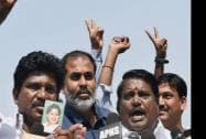AIADMK supporters outside the Supreme Court