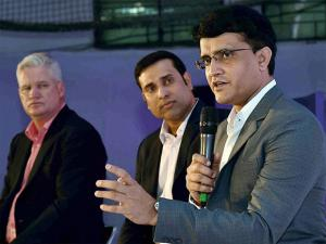 Former cricketers at Pink Ball Test Match