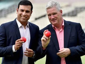 Sourav Ganguly interacts at Pink Ball Test Match