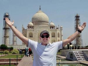 Former New Zealand player Scott Styris during his visit to Taj Mahal in Agra