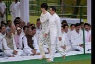 Congress President Sonia Gandhi's daughter Priyanka Vadra with her husband Robert Vadra