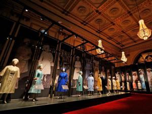 Dresses of Britain's Queen  Elizabeth are on display at an exhibition at Buckingham Palace
