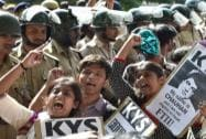 FTII students agitating for the removal of the FTII Chairman Gajendra Chauhan