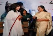 Legendary singer Asha Bhosle interacts with Sayema Rahman, RJ at Radio Mirchi, at an FYLOs function in New Delhi