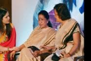 Singer Asha Bhosle , FLO President Neeta Boochra and Chairperson of FYLO Avarna Jain at an FYLOs function in New Delhi
