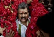 Union Minister G K Vasan is garlanded by supporters after he formally announced his decision to revive the erstwhile Tamil Manila Congress