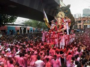 Lalbaugcha Raja idol  for immersion on the last day of Ganesh festival