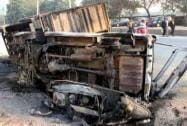 Vehicles set ablaze by irate workers of a company at Udyog Vihar