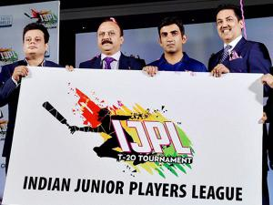Gautam Gambhir with officials during the announcement of Indian Junior Player League (IJPL) T-20 tournament