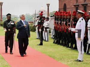 Japan's Defence Minister Gen Nakatani inspecting the Guard of Honour at South Block