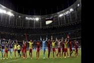 Belgian players celebrate after the World Cup round of 16 soccer match