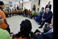 German Foreign Minister Frank-Walter Steinmeier interacts with students in German language