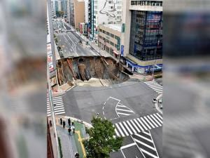 shinkhole is created in the middle of the business district in Fukuoka