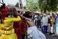 Christians at a Good Friday procession at St. Francis Church in Bhopal