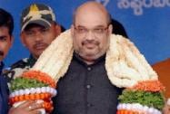 BJP National President Amit Shah is garlanded