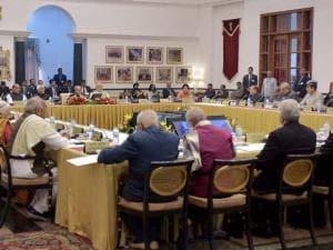 President Pranab Mukherjee addresses the Governors Conference at Rashtrapati Bhavan  in New_Delhi