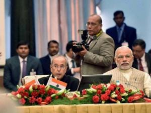 President Pranab Mukherjee addresses the Governors Conference at Rashtrapati Bhavan  in New Delhi on Tuesday.Vice President, M. Hamid Ansari  and Prime Minister Narendra Modi are also seen