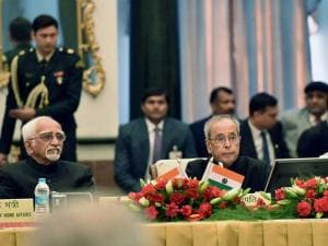 President Pranab Mukherjee addresses the Governors Conference at Rashtrapati Bhavan  in New Delhi on Tuesday.Vice President, M. Hamid Ansari are also seen