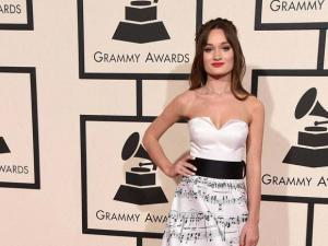 Diana Gloster arrives at the 58th annual Grammy Awards at the Staples Center