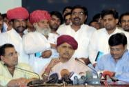 Gujjar community leader Kirori Singh Bainsla talking to the media