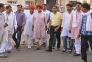 Gujjar leader Kirori Singh Bainsla with community people arrives for a meeting in Jaipur