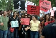 Guradians of school students take part in a protest rally against the rape of a 6-year old school girl in Bengaluru