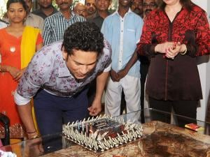 Sachin Tendulkar celebrates his 44th birthday with family and friends at his residence in Mumbai
