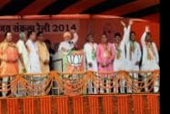 Prime Minister Narendra Modi with the party candidates at a rally