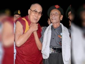 Dalai Lama with Naren Chandra Das, a retired havildar of 5 Assam Rifles
