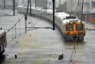 A view of water logged railway tracks following a heavy rain in Mumbai